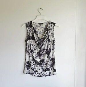 Ellen Tracy Black & White Floral Tank
